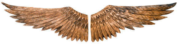 carved wood wings